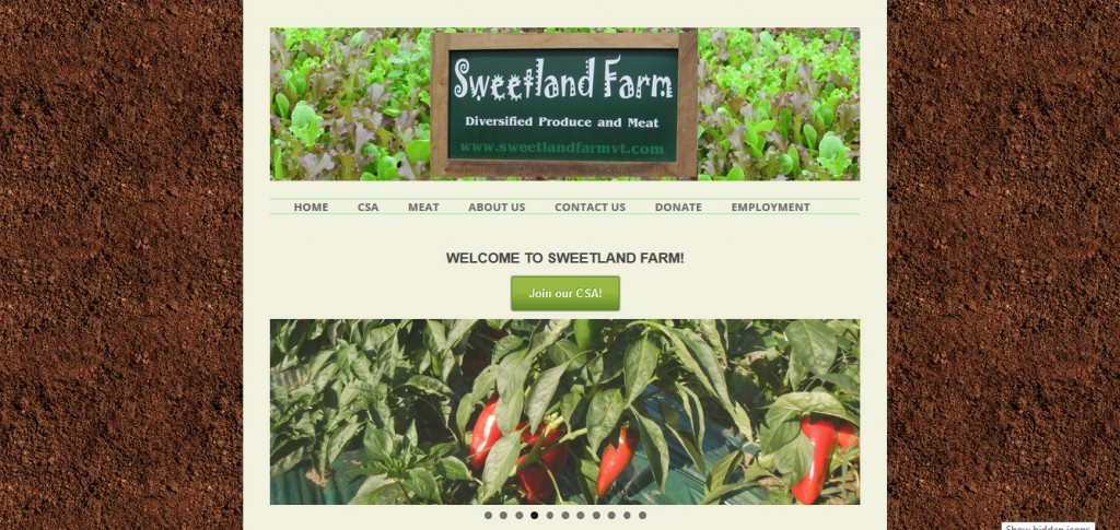 Sweetland Farm - A website advertising a CSA share