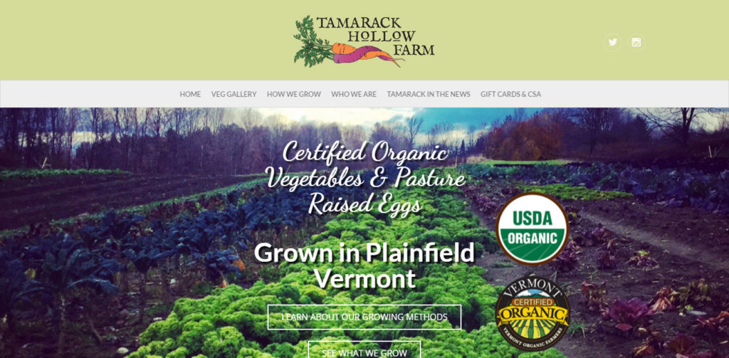 Tamarack Hollow Farm - An informational Website for a Vegetable Farm