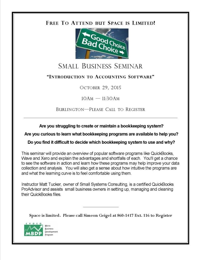 October 2015 Bookkeeping Seminar